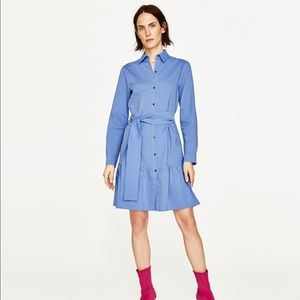 Zara Cotton Button Up Knee Length Shirt Dress XS